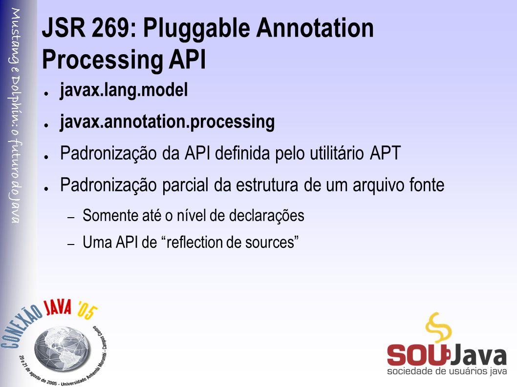 Mustang e Dolphin: o futuro do Java JSR 269: Pluggable Annotation Processing API ● javax.lang.model ● javax.annotation.processing ● Padronização da API definida pelo utilitário APT ● Padronização parcial da estrutura de um arquivo fonte – Somente até o nível de declarações – Uma API de reflection de sources