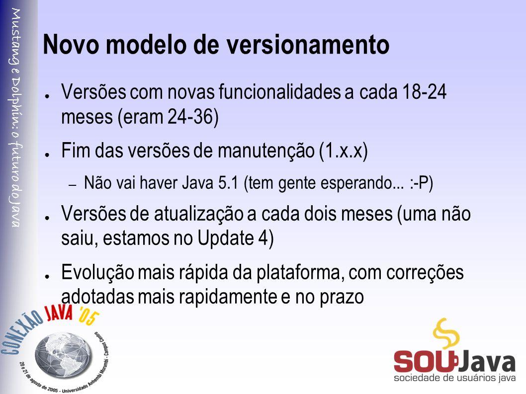 Mustang e Dolphin: o futuro do Java Novo modelo de versionamento ● Versões com novas funcionalidades a cada 18-24 meses (eram 24-36) ● Fim das versões de manutenção (1.x.x) – Não vai haver Java 5.1 (tem gente esperando...