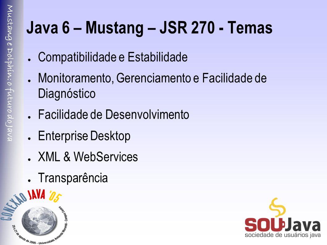 Mustang e Dolphin: o futuro do Java Java 6 – Mustang – JSR 270 - Temas ● Compatibilidade e Estabilidade ● Monitoramento, Gerenciamento e Facilidade de Diagnóstico ● Facilidade de Desenvolvimento ● Enterprise Desktop ● XML & WebServices ● Transparência