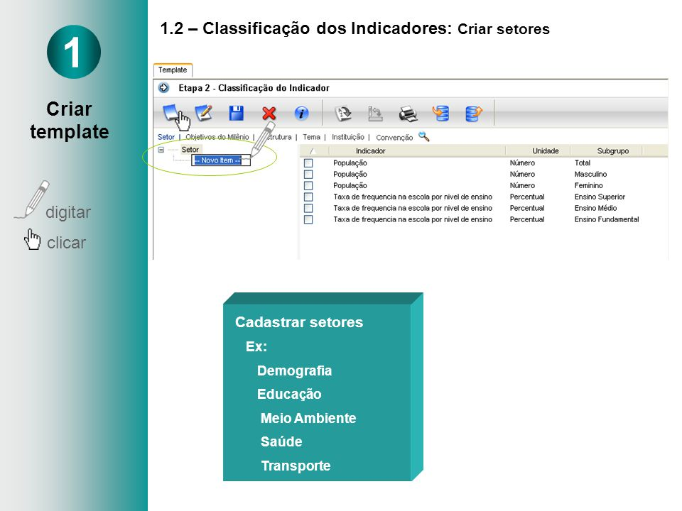 1.2 – Classificação dos Indicadores: Criar setores Cadastrar setores Ex: Demografia Educação Meio Ambiente Saúde Transporte 1 Criar template digitar clicar