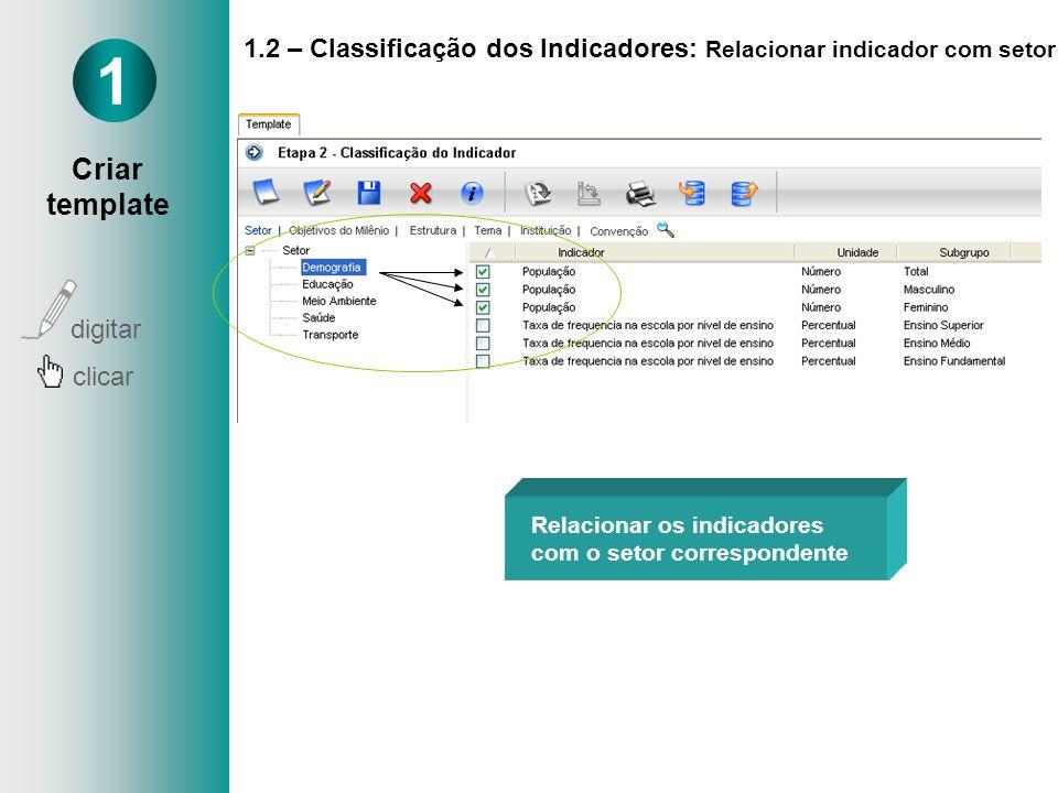 1.2 – Classificação dos Indicadores: Relacionar indicador com setor Relacionar os indicadores com o setor correspondente 1 Criar template digitar clic