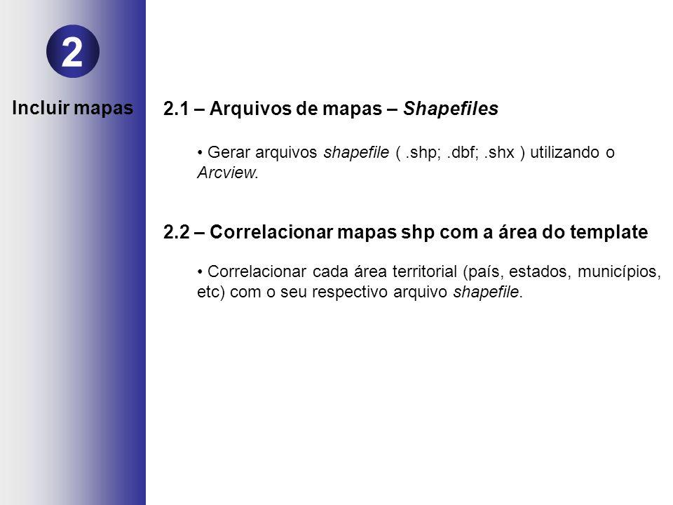 2.1 – Arquivos de mapas – Shapefiles Gerar arquivos shapefile (.shp;.dbf;.shx ) utilizando o Arcview. 2.2 – Correlacionar mapas shp com a área do temp