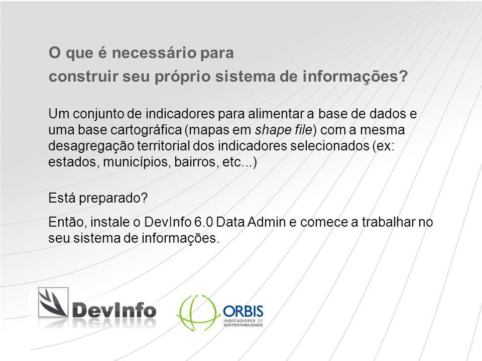 O que é necessário para construir seu próprio sistema de informações? Um conjunto de indicadores para alimentar a base de dados e uma base cartográfic