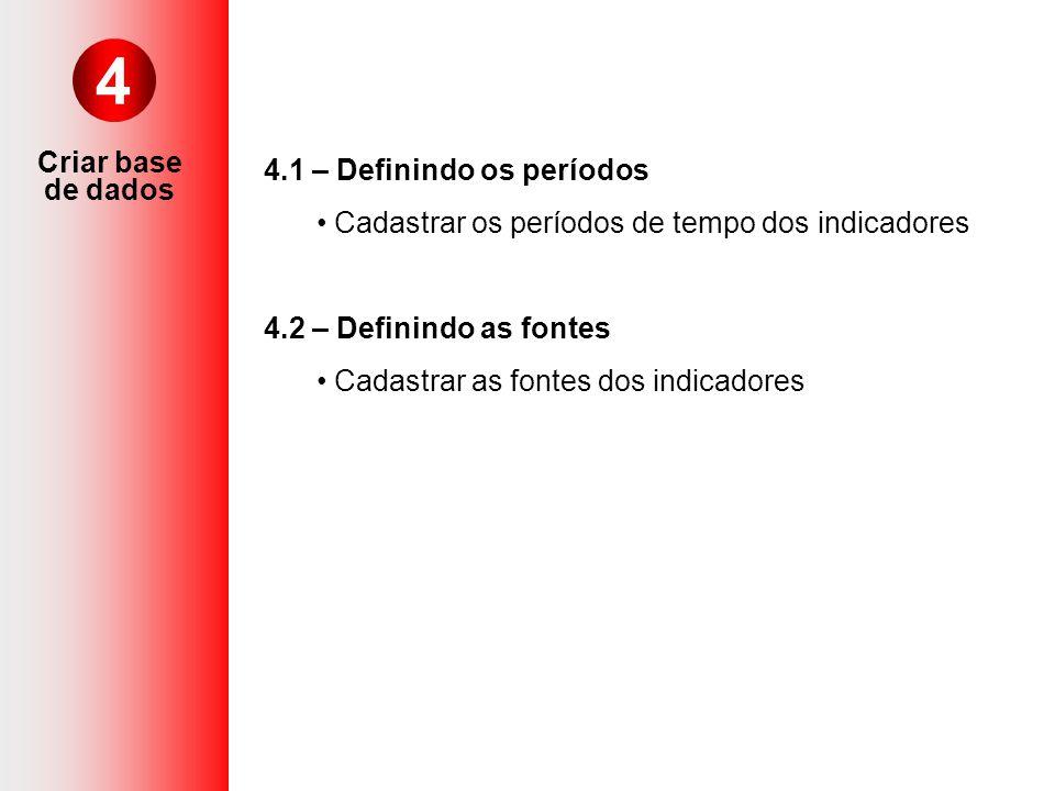 Criar base de dados 4 4.1 – Definindo os períodos Cadastrar os períodos de tempo dos indicadores 4.2 – Definindo as fontes Cadastrar as fontes dos ind