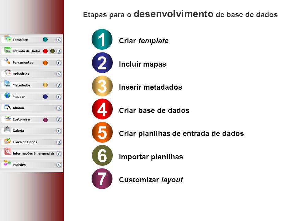1 Criar template 2 Incluir mapas 3 Inserir metadados 4 Criar base de dados 5 Criar planilhas de entrada de dados Etapas para o desenvolvimento de base