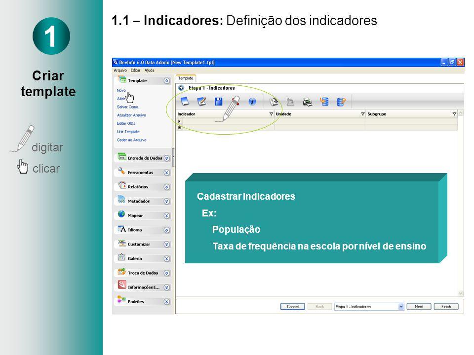 1.1 – Indicadores: Definição dos indicadores 1 Cadastrar Indicadores Ex: População Taxa de frequência na escola por nível de ensino digitar clicar Cri