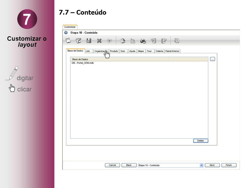 Customizar o layout digitar clicar 7 7.7 – Conteúdo