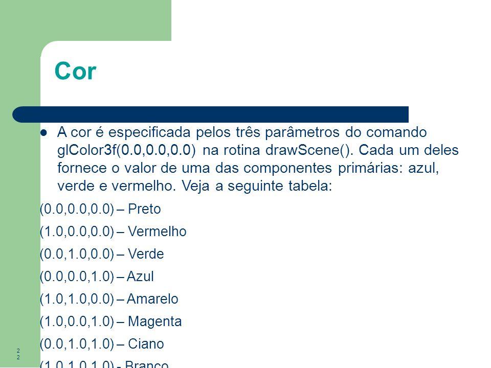 22 Cor A cor é especificada pelos três parâmetros do comando glColor3f(0.0,0.0,0.0) na rotina drawScene(). Cada um deles fornece o valor de uma das co