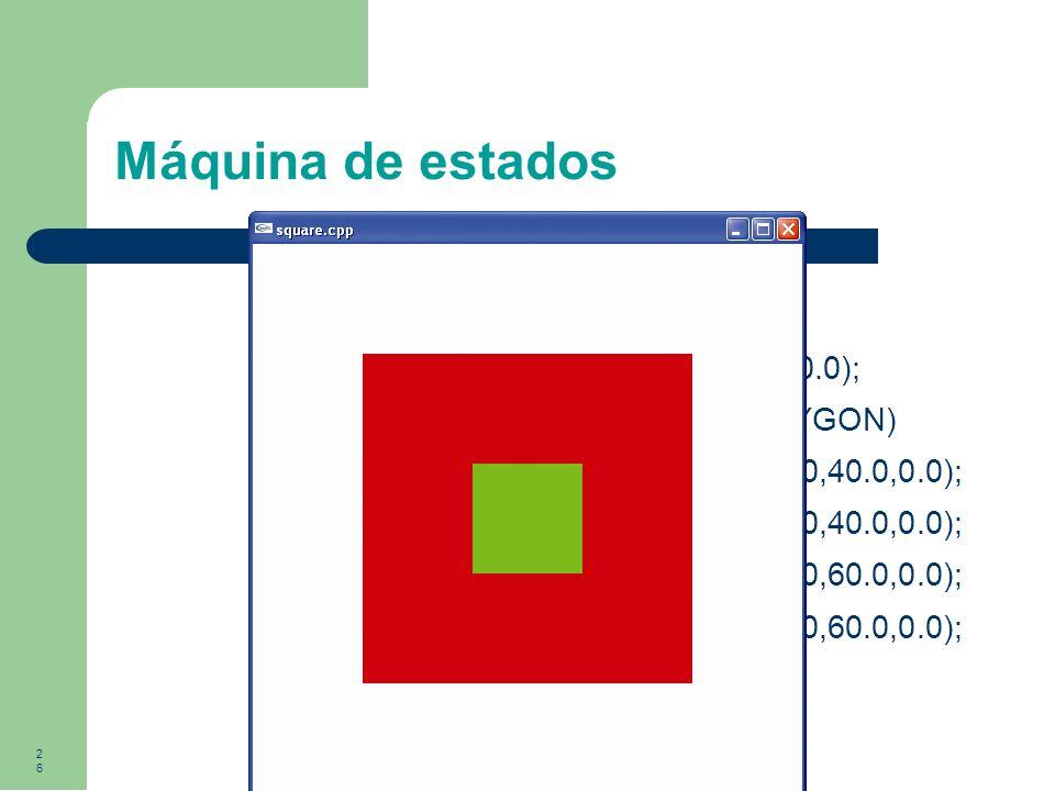 26 Máquina de estados glColor3f(0.0,1.0,0.0); glBegin(GL_POLYGON) glVertex3f(40.0,40.0,0.0); glVertex3f(60.0,40.0,0.0); glVertex3f(60.0,60.0,0.0); glV