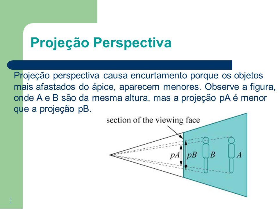 53 Projeção perspectiva causa encurtamento porque os objetos mais afastados do ápice, aparecem menores. Observe a figura, onde A e B são da mesma altu