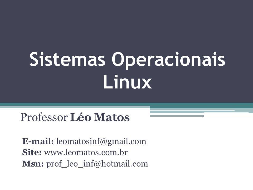Sistemas Operacionais Linux Professor Léo Matos E-mail: leomatosinf@gmail.com Site: www.leomatos.com.br Msn: prof_leo_inf@hotmail.com