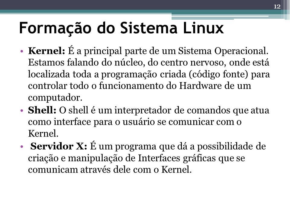Formação do Sistema Linux Kernel: É a principal parte de um Sistema Operacional. Estamos falando do núcleo, do centro nervoso, onde está localizada to