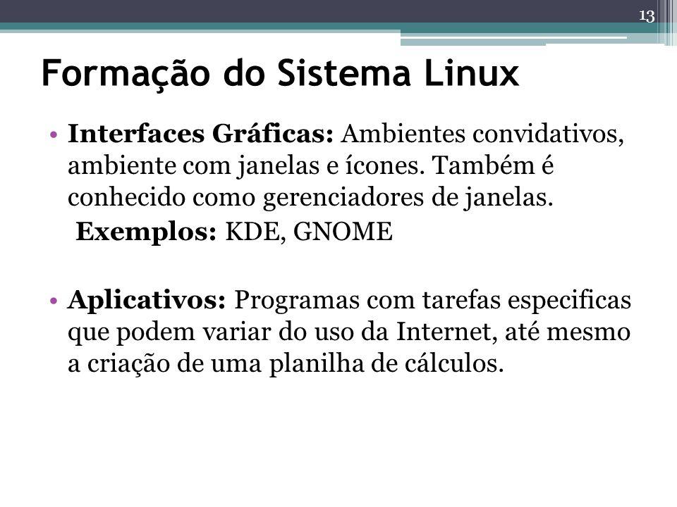 Formação do Sistema Linux Interfaces Gráficas: Ambientes convidativos, ambiente com janelas e ícones. Também é conhecido como gerenciadores de janelas