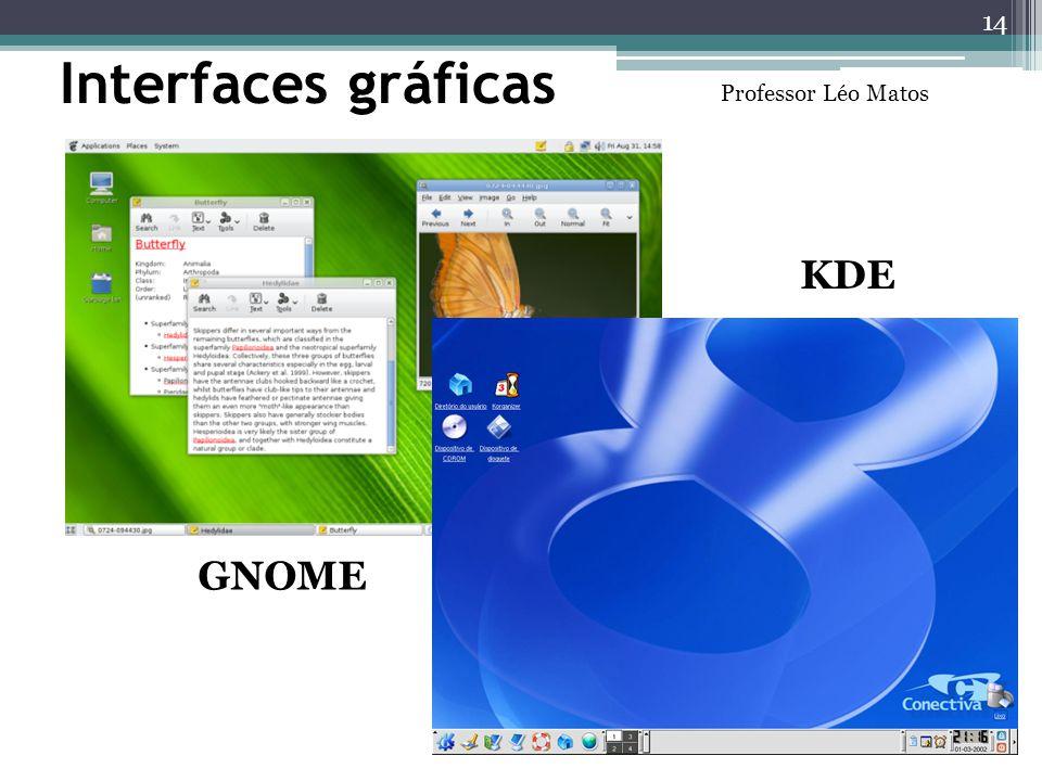 Interfaces gráficas GNOME KDE 14 Professor Léo Matos