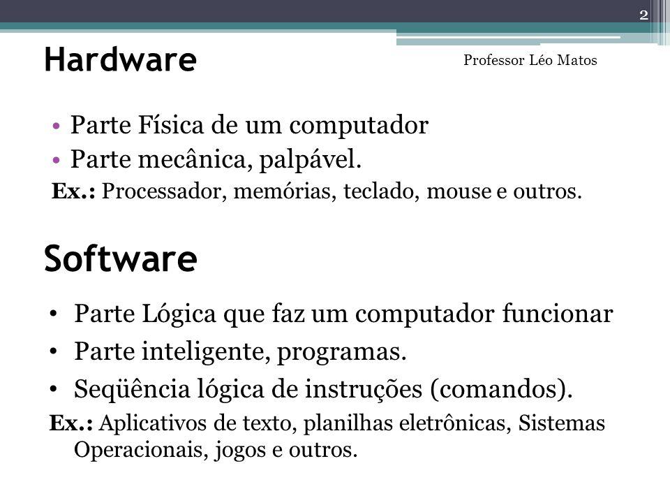 Hardware Parte Física de um computador Parte mecânica, palpável. Ex.: Processador, memórias, teclado, mouse e outros. Parte Lógica que faz um computad