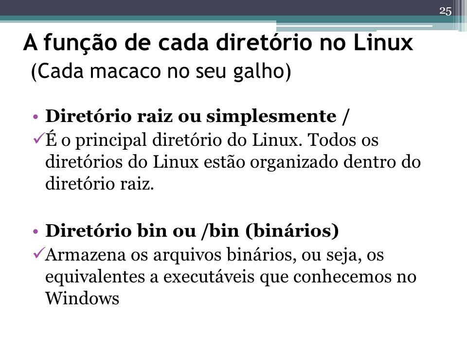 A função de cada diretório no Linux (Cada macaco no seu galho) Diretório raiz ou simplesmente / É o principal diretório do Linux. Todos os diretórios