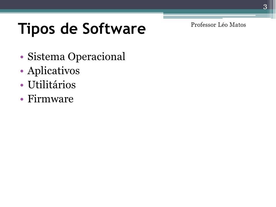 Tipos de Software Sistema Operacional Aplicativos Utilitários Firmware 3 Professor Léo Matos