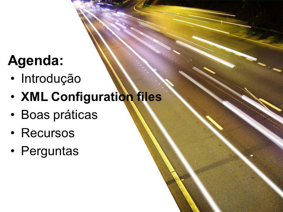 Introdução XML Configuration files Boas práticas Recursos Perguntas Agenda: