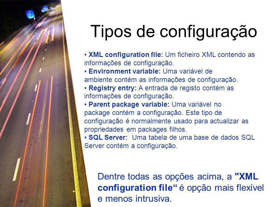 Tipos de configuração XML configuration file: Um ficheiro XML contendo as informações de configuração.