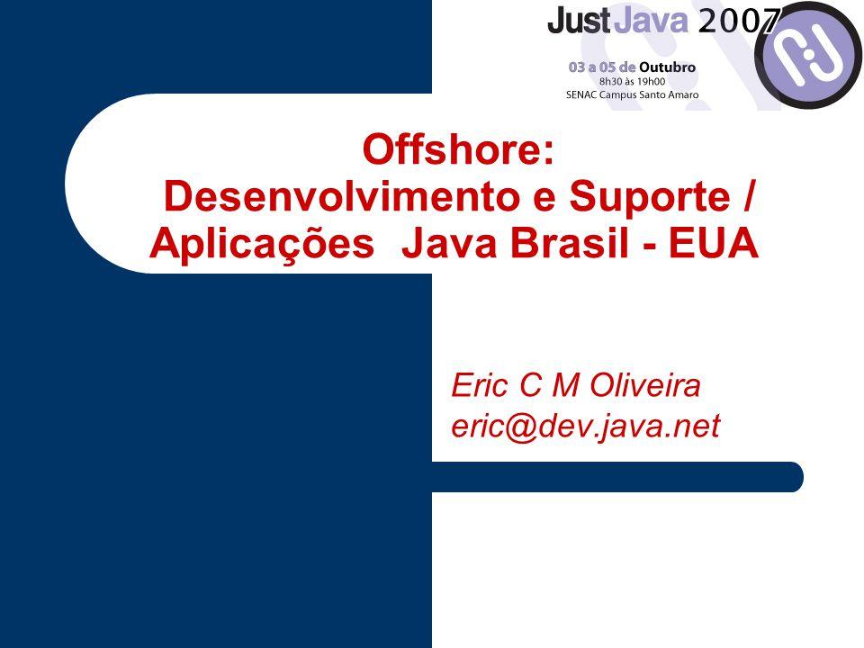 Perfil do Desenvolvedor Brasil / Java / Software Livre JavaOne Linguagem Técnica é Universal Mas é preciso qualificação / experiência / idioma 70 mil profissionais 18 mil programadores certificados Sun JUG´s: +40
