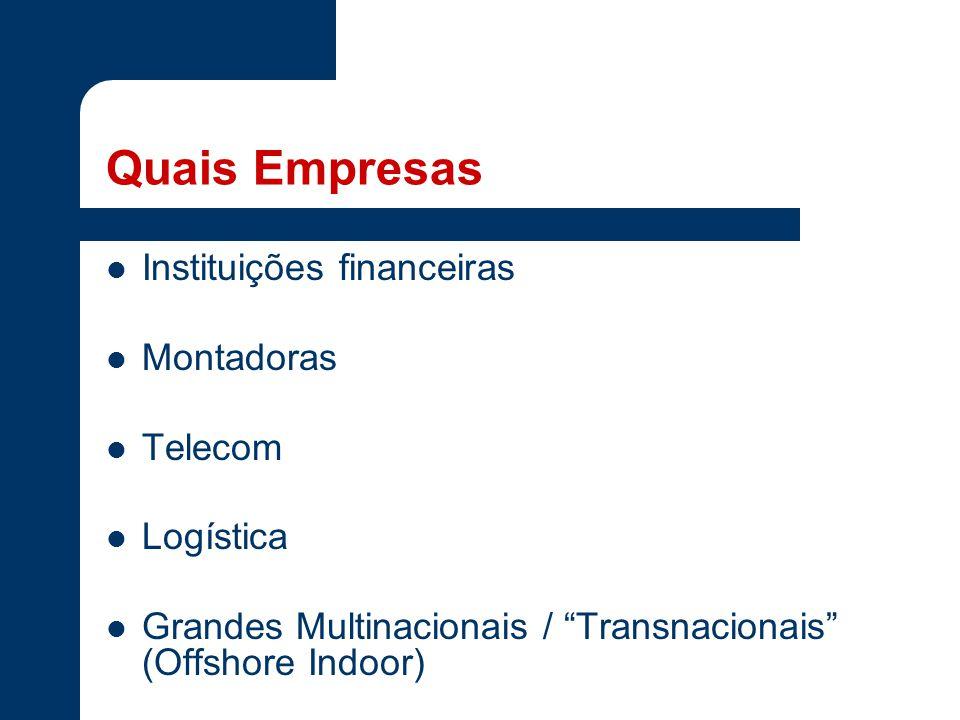 Quais Empresas Instituições financeiras Montadoras Telecom Logística Grandes Multinacionais / Transnacionais (Offshore Indoor)