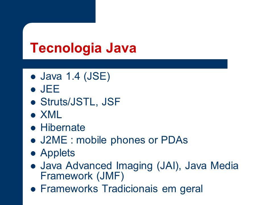 Tecnologia Java Java 1.4 (JSE) JEE Struts/JSTL, JSF XML Hibernate J2ME : mobile phones or PDAs Applets Java Advanced Imaging (JAI), Java Media Framework (JMF) Frameworks Tradicionais em geral