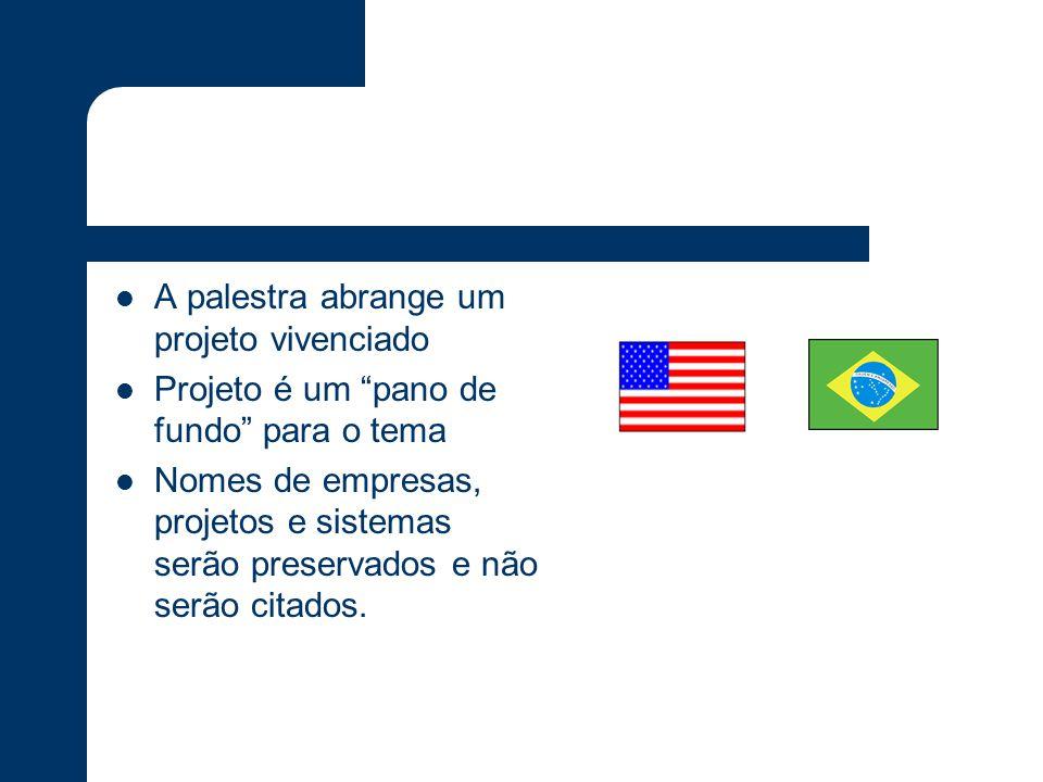 Projeto Brasil EUA – Suporte App Gastos com Application Support eram siginificativos Movimento de redução de custos Parte das atividades de suporte as aplicações movidas para o Brasil Não realizado um completo off-shoring de aplicação alguma