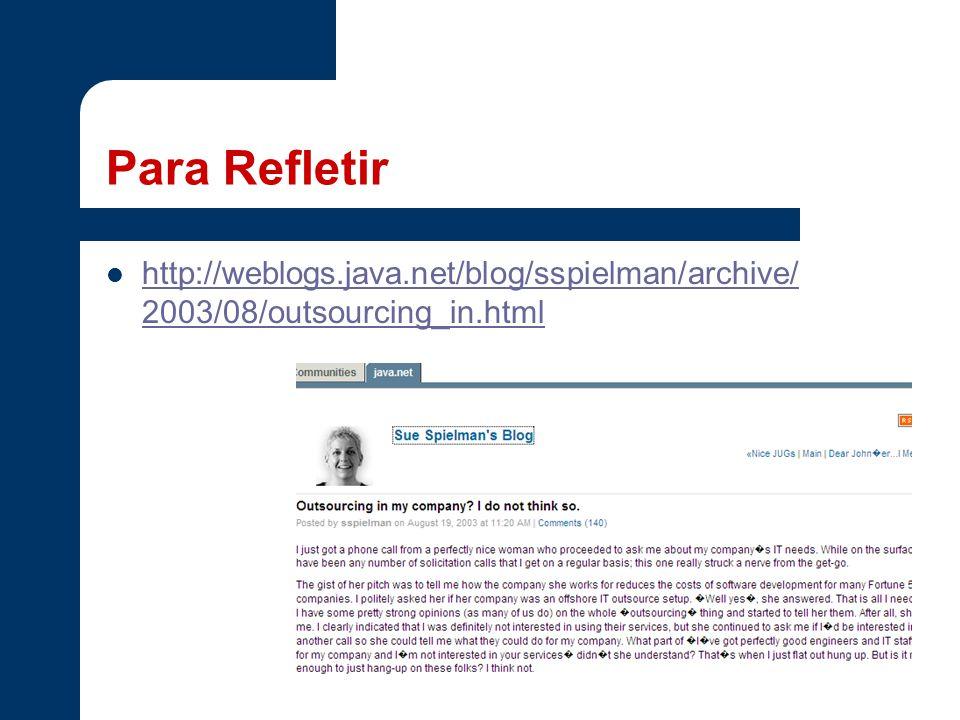 Para Refletir http://weblogs.java.net/blog/sspielman/archive/ 2003/08/outsourcing_in.html http://weblogs.java.net/blog/sspielman/archive/ 2003/08/outs