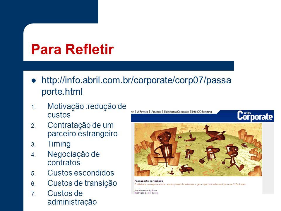 Para Refletir http://info.abril.com.br/corporate/corp07/passa porte.html 1. Motivação :redução de custos 2. Contratação de um parceiro estrangeiro 3.
