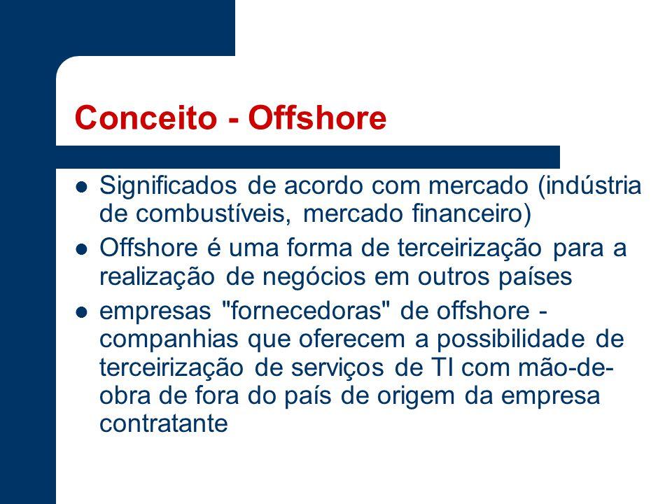 Conceito - Offshore Significados de acordo com mercado (indústria de combustíveis, mercado financeiro) Offshore é uma forma de terceirização para a realização de negócios em outros países empresas fornecedoras de offshore - companhias que oferecem a possibilidade de terceirização de serviços de TI com mão-de- obra de fora do país de origem da empresa contratante