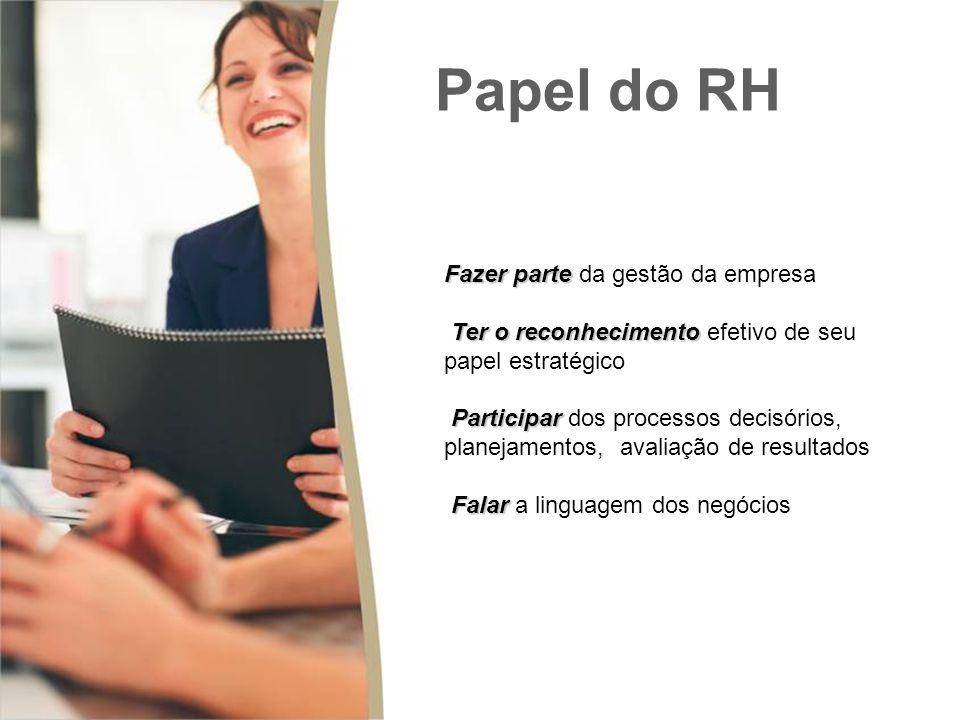 Fazer parte Fazer parte da gestão da empresa Ter o reconhecimento Ter o reconhecimento efetivo de seu papel estratégico Participar Participar dos processos decisórios, planejamentos, avaliação de resultados Falar Falar a linguagem dos negócios Papel do RH