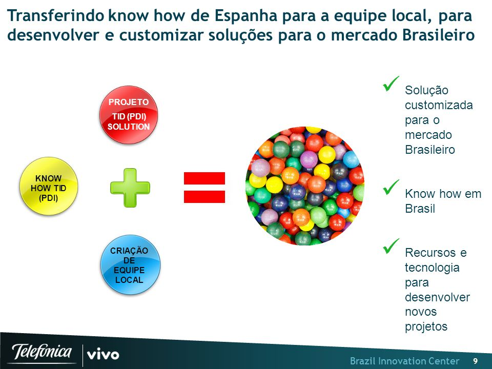 Brazil Innovation Center 9 Transferindo know how de Espanha para a equipe local, para desenvolver e customizar soluções para o mercado Brasileiro Solu