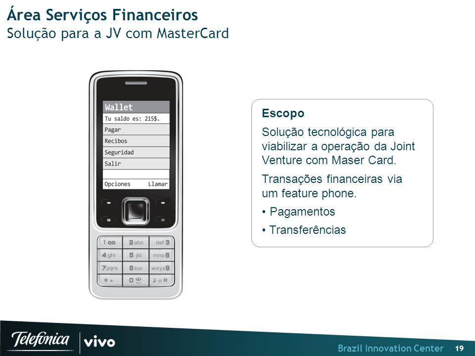Brazil Innovation Center 19 Área Serviços Financeiros Solução para a JV com MasterCard Escopo Solução tecnológica para viabilizar a operação da Joint