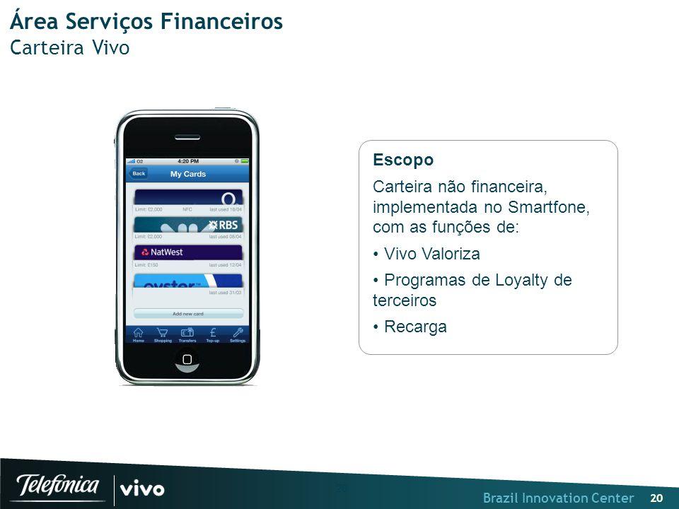 Brazil Innovation Center 20 Área Serviços Financeiros Carteira Vivo Escopo Carteira não financeira, implementada no Smartfone, com as funções de: Vivo