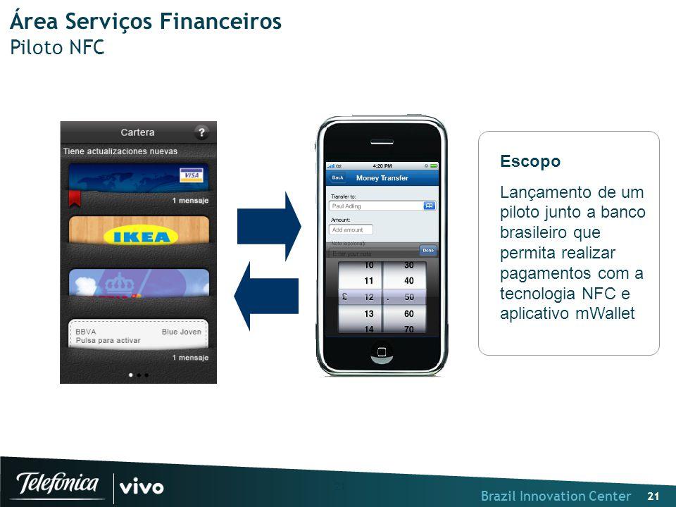 """Brazil Innovation Center 21 """" Área Serviços Financeiros Piloto NFC Escopo Lançamento de um piloto junto a banco brasileiro que permita realizar pagame"""