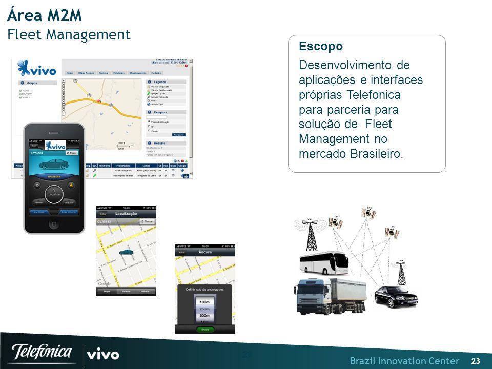 Brazil Innovation Center 23 Área M2M Fleet Management Escopo Desenvolvimento de aplicações e interfaces próprias Telefonica para parceria para solução