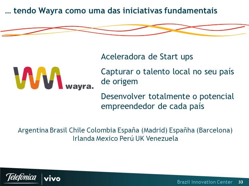 Brazil Innovation Center 33 … tendo Wayra como uma das iniciativas fundamentais Aceleradora de Start ups Capturar o talento local no seu país de orige
