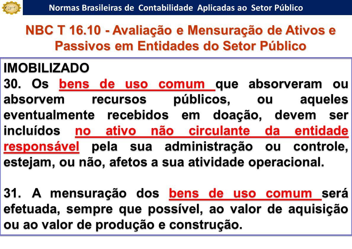 Normas Brasileiras de Contabilidade Aplicadas ao Setor Público IMOBILIZADO 30. Os bens de uso comum que absorveram ou absorvem recursos públicos, ou a