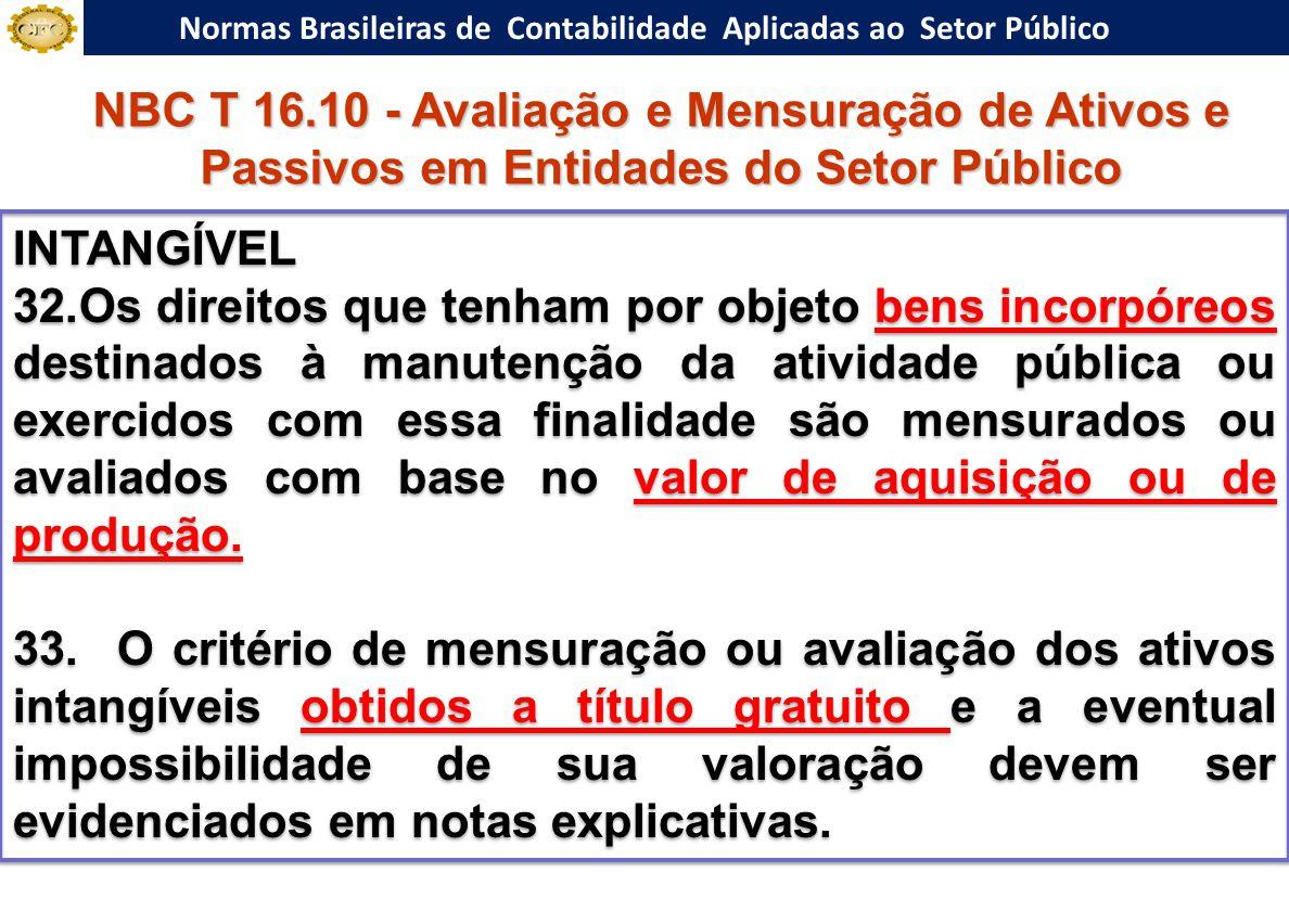 Normas Brasileiras de Contabilidade Aplicadas ao Setor Público INTANGÍVEL 32.Os direitos que tenham por objeto bens incorpóreos destinados à manutenção da atividade pública ou exercidos com essa finalidade são mensurados ou avaliados com base no valor de aquisição ou de produção.