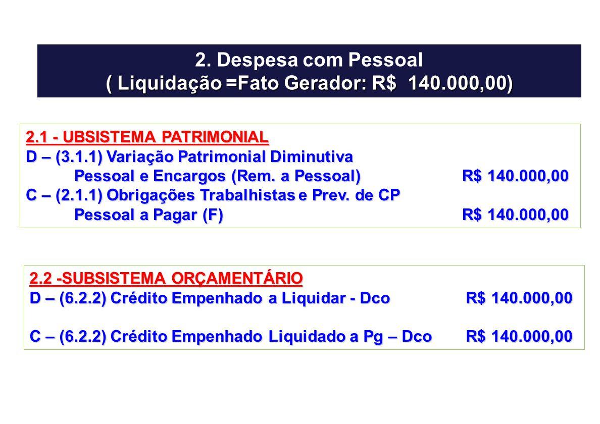 2. Despesa com Pessoal ( Liquidação =Fato Gerador: R$ 140.000,00) 2.1 - UBSISTEMA PATRIMONIAL D – (3.1.1) Variação Patrimonial Diminutiva Pessoal e En