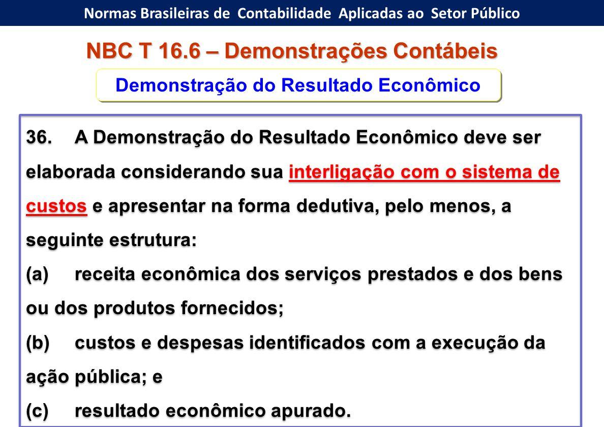 Normas Brasileiras de Contabilidade Aplicadas ao Setor Público NBC T 16.6 – Demonstrações Contábeis 36.A Demonstração do Resultado Econômico deve ser