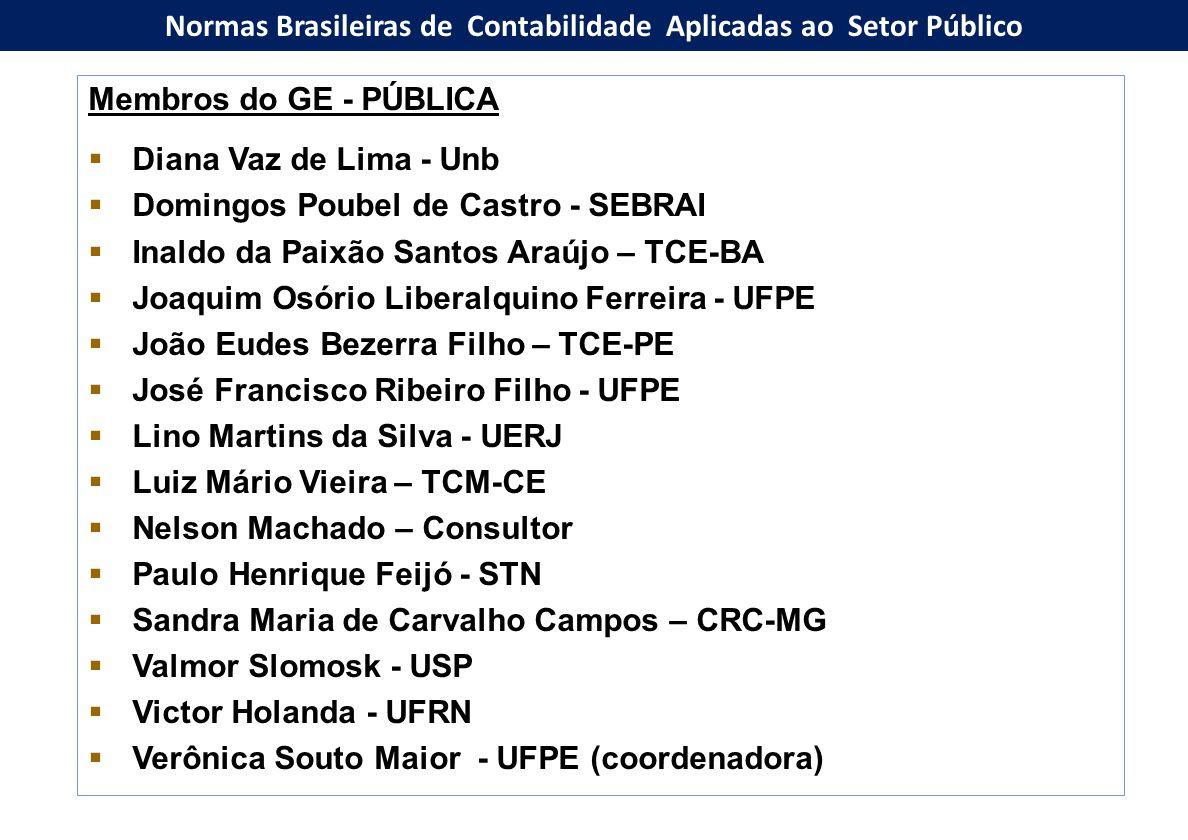 Membros do GE - PÚBLICA  Diana Vaz de Lima - Unb  Domingos Poubel de Castro - SEBRAI  Inaldo da Paixão Santos Araújo – TCE-BA  Joaquim Osório Libe