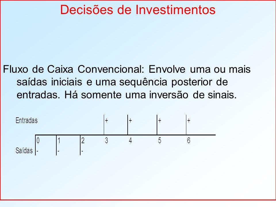 Decisões de Investimentos Fluxo de Caixa Convencional: Envolve uma ou mais saídas iniciais e uma sequência posterior de entradas. Há somente uma inver