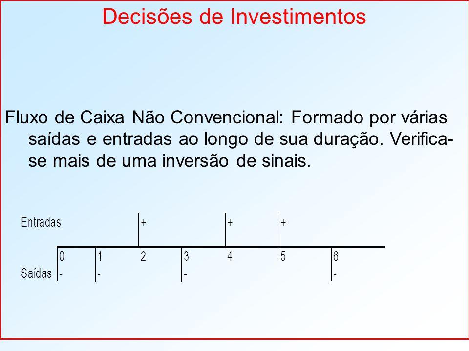 Decisões de Investimentos Fluxo de Caixa Não Convencional: Formado por várias saídas e entradas ao longo de sua duração. Verifica- se mais de uma inve
