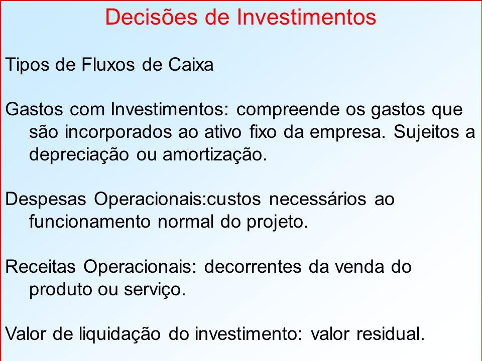 Decisões de Investimentos Tipos de Fluxos de Caixa Gastos com Investimentos: compreende os gastos que são incorporados ao ativo fixo da empresa. Sujei