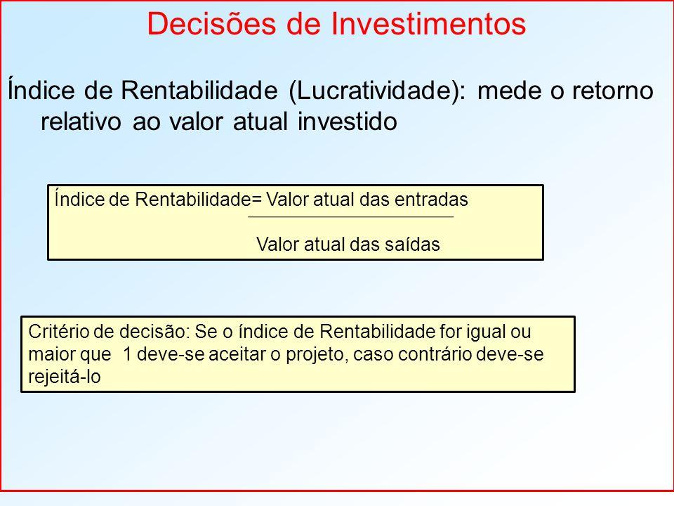 Decisões de Investimentos Índice de Rentabilidade (Lucratividade): mede o retorno relativo ao valor atual investido Índice de Rentabilidade= Valor atual das entradas Valor atual das saídas Critério de decisão: Se o índice de Rentabilidade for igual ou maior que 1 deve-se aceitar o projeto, caso contrário deve-se rejeitá-lo