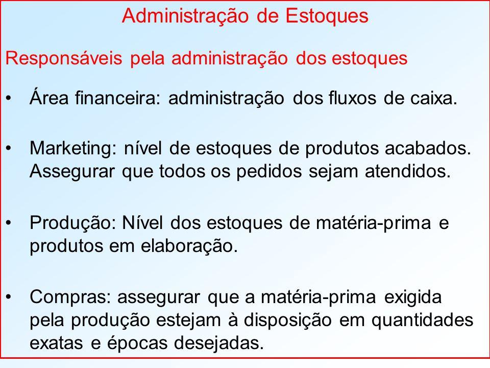 Administração de Estoques Responsáveis pela administração dos estoques Área financeira: administração dos fluxos de caixa. Marketing: nível de estoque