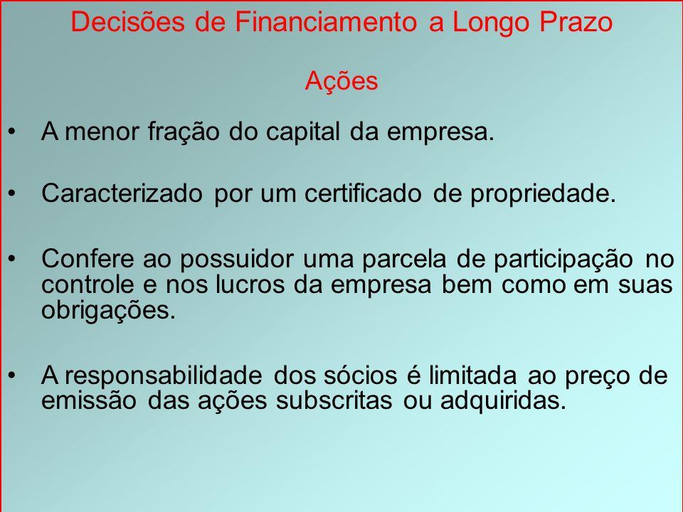 Decisões de Financiamento a Longo Prazo Ações A menor fração do capital da empresa. Caracterizado por um certificado de propriedade. Confere ao possui
