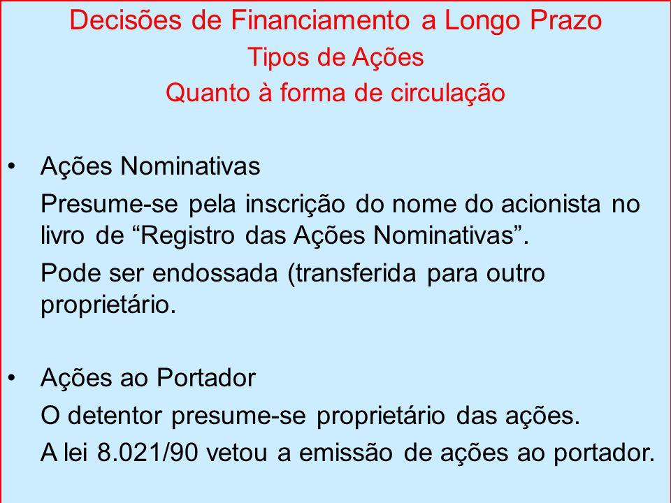 Decisões de Financiamento a Longo Prazo Tipos de Ações Quanto à forma de circulação Ações Nominativas Presume-se pela inscrição do nome do acionista no livro de Registro das Ações Nominativas .