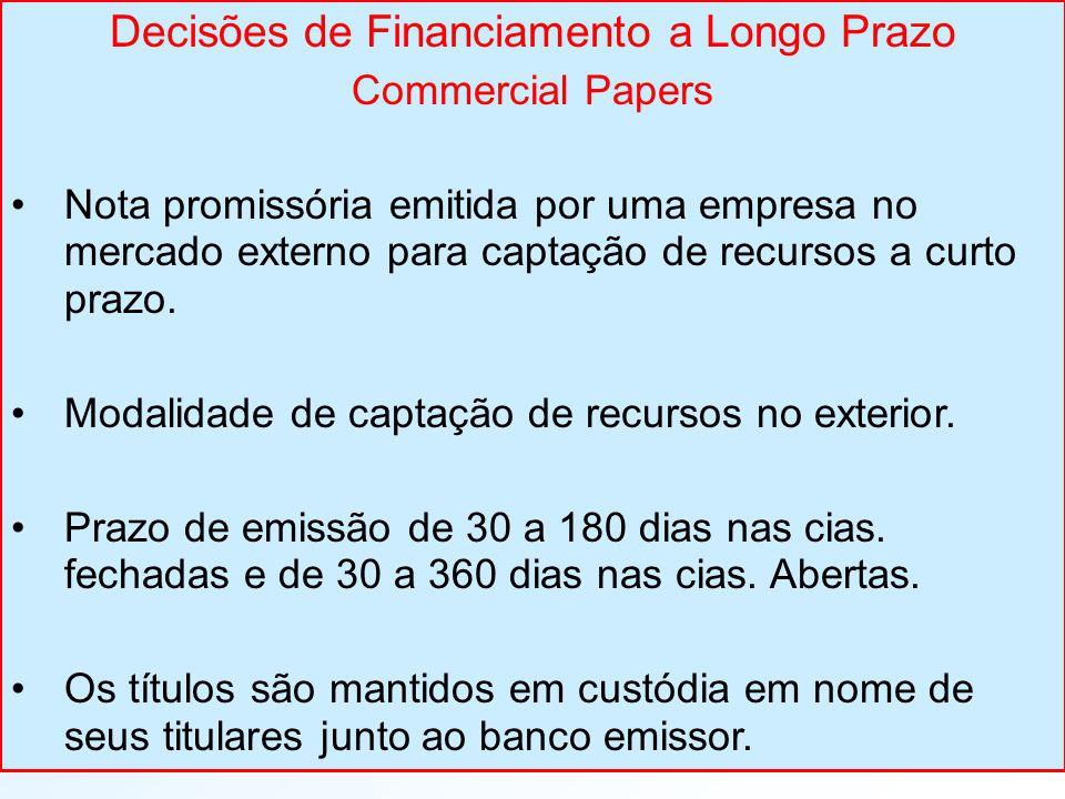 Decisões de Financiamento a Longo Prazo Commercial Papers Nota promissória emitida por uma empresa no mercado externo para captação de recursos a curto prazo.